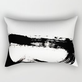 Brushstroke [8] - a simple, abstract, black and white india ink piece Rectangular Pillow