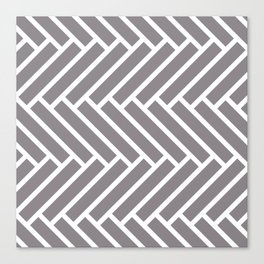 Gray and white herringbone pattern Canvas Print