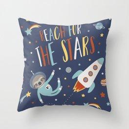 Space Sloth Reach the Stars Throw Pillow