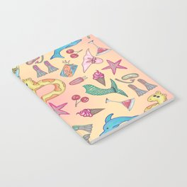 Cute Summer Beach and Poolside Illustrations Notebook