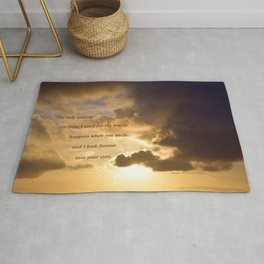 Long Beach Sunset with poem: Lasting Tribute Rug