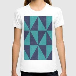 Geometric Triangle Pattern - Turquoise, Blue T-shirt