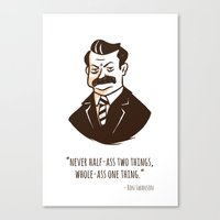 ron swanson Canvas Prints featuring Ron Swanson by Chris Baldie