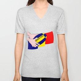 Rugby Romania Flag Unisex V-Neck