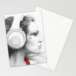 MUSIC Girl in Headphones Stationery Cards