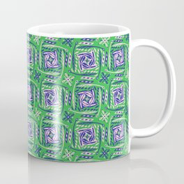 Green and Purple Abstract Doodle Grid Shapes Coffee Mug