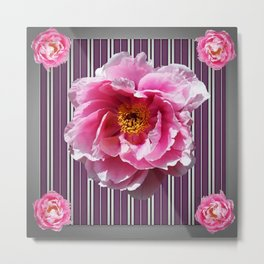 PINK PEONY GREY-PURPLE PATTERN Metal Print