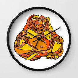 Laughing Buddha Dog Mosaic Color Wall Clock