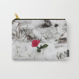 Rose in the snow Carry-All Pouch