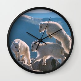 Kids - Mountain Goats with Rocky Mountains View  Wall Clock