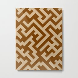 Tan Brown and Chocolate Brown Diagonal Labyrinth Metal Print