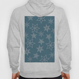 Silver Snowflakes On Teal Background Hoody