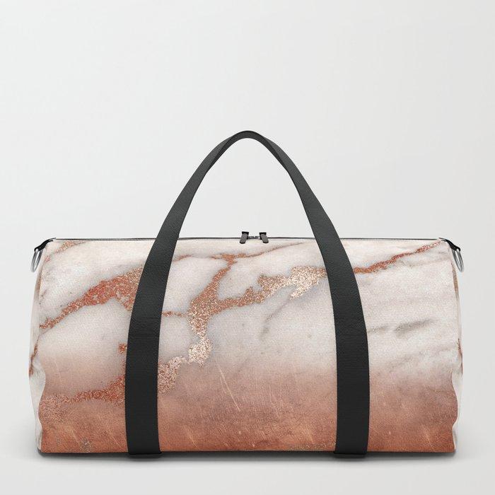 Shiny Copper Metal Foil Gold Ombre Bohemian Marble Duffle Bag