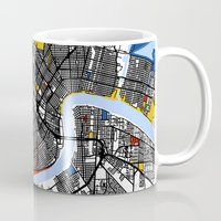 new orleans Mugs featuring New Orleans by Mondrian Maps