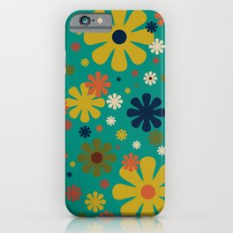Flowerama - Retro Floral Pattern in Mid Mod Colors on Turquoise Teal iPhone Case