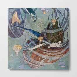 """The Little Mermaid"" by Edmund Dulac Metal Print"