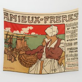 Vintage French sea fish advertising Wall Tapestry