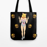 pooh Tote Bags featuring Miley Pooh by Butt Ugly Co