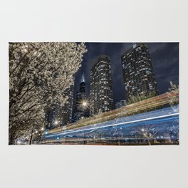 Chicago Skyline as Tron Bikes Zip Past Rug
