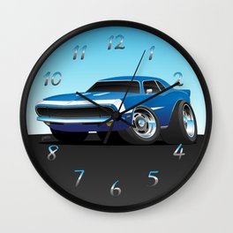 Classic Sixties Style American Muscle Car Hot Rod Cartoon Wall Clock
