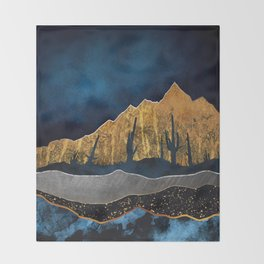Midnight Desert Moon Throw Blanket