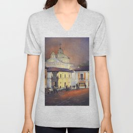 Fine art watercolor painting of church rising over colonial buildings in El Centro of downtown Quito Unisex V-Neck