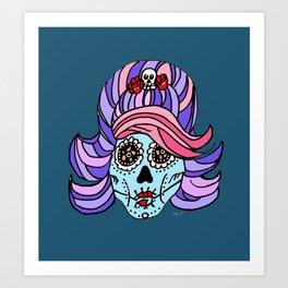 Rockabilly Sugar Skull Art Print
