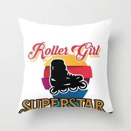 Skating Roller Girl Superstar Skateboard Surf Gift Throw Pillow