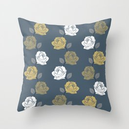 Rose Vine Pattern Blues Golds White Throw Pillow