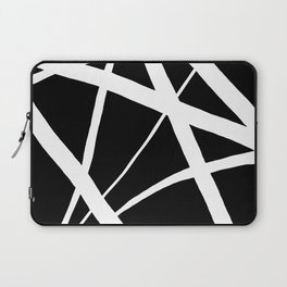 Geometric Line Abstract - Black White Laptop Sleeve
