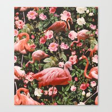 Floral and Flemingo Pattern Canvas Print