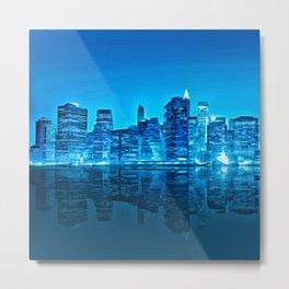 Blue Cityscapes Metal Print
