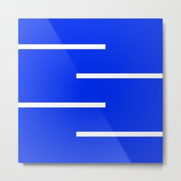 Abstract Minimal Retro Stripes Blue Metal Print