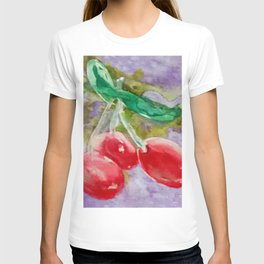 Red Cherries on Purple watercolor by CheyAnne Sexton T-shirt
