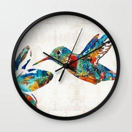 Colorful Hummingbird Art by Sharon Cummings Wall Clock