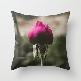 Single pink rose against blurred background. Throw Pillow