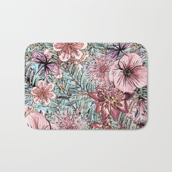 Tropical Pastel Pink Flower Hibiscus Garden on #Society6 Bath Mat
