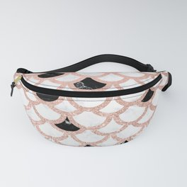Girly rose gold black white marble mermaid scallop pattern Fanny Pack