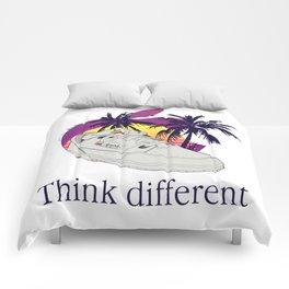 Apple vaporwave Comforters