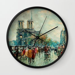 Notre-Dame Cathedral, City Streets of Paris by Antoine Blanchard Wall Clock