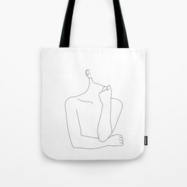 Womans body line drawing illustration - Helen Tote Bag