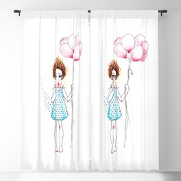 Girl with pink balloons Blackout Curtain