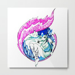 Raven Girl Metal Print
