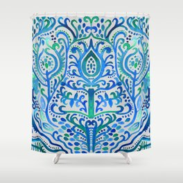 Sapphire and Emerald Watercolor Tulip Damask Shower Curtain