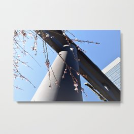 A Spring Japanese Temple with Sakura Cherry Blossoms Metal Print