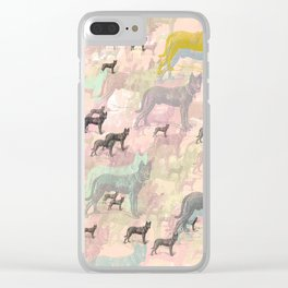 Sky Dogs - Abstract Geometric pink mauve mint grey orange Clear iPhone Case