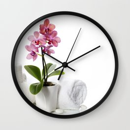 spa composition with beautiful pink orchid Wall Clock