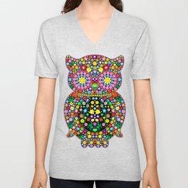 Owl Zentangle Floral   Unisex V-Neck