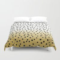 gold dots Duvet Covers featuring Dots on White&Gold by Oh Monday