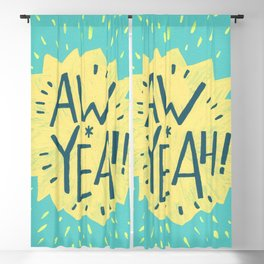 Aw Yeah! // Turquoise and Yellow Lettering Blackout Curtain